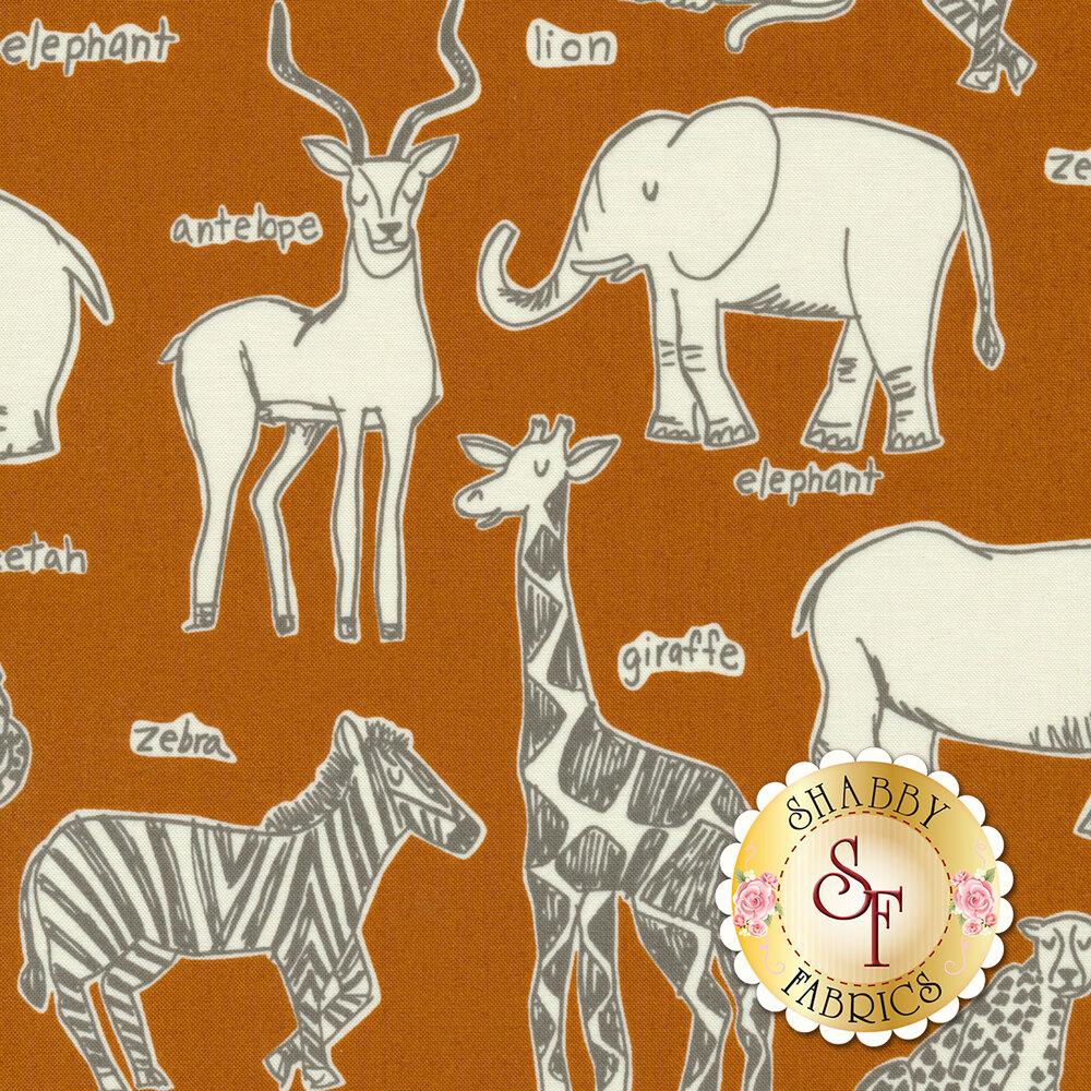 White safari animals on orange | Shabby Fabrics