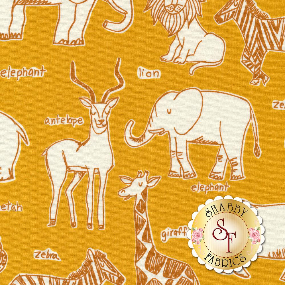 White safari animals on yellow   Shabby Fabrics
