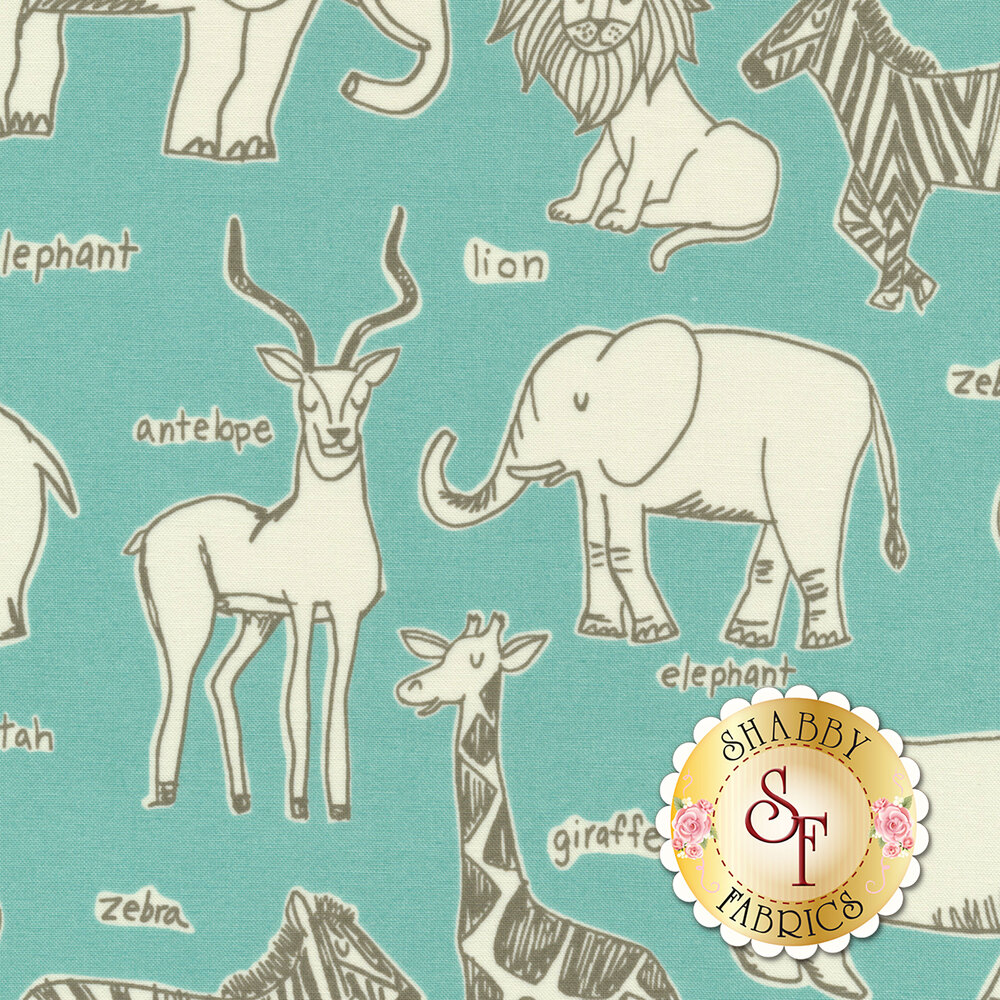 White safari animals on aqua   Shabby Fabrics
