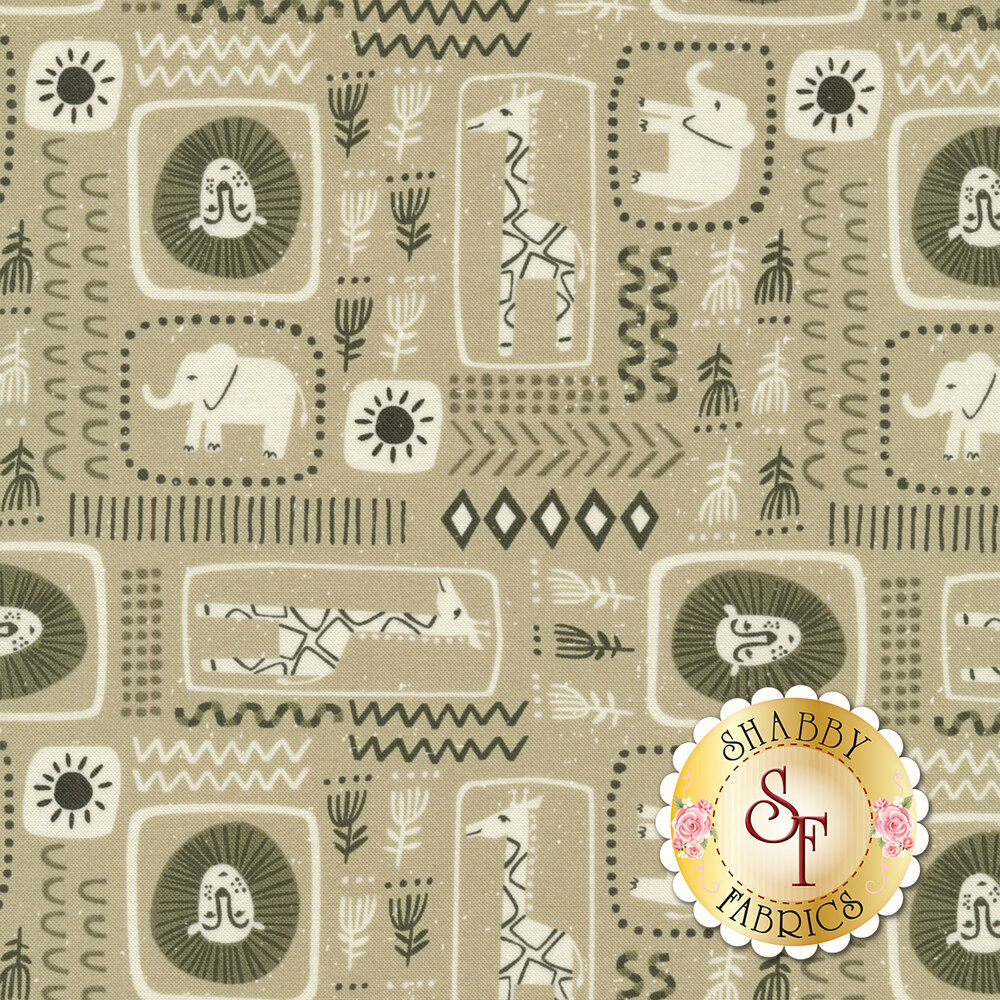 Safari animals inside of shapes with flowers and arrows on beige | Shabby Fabrics