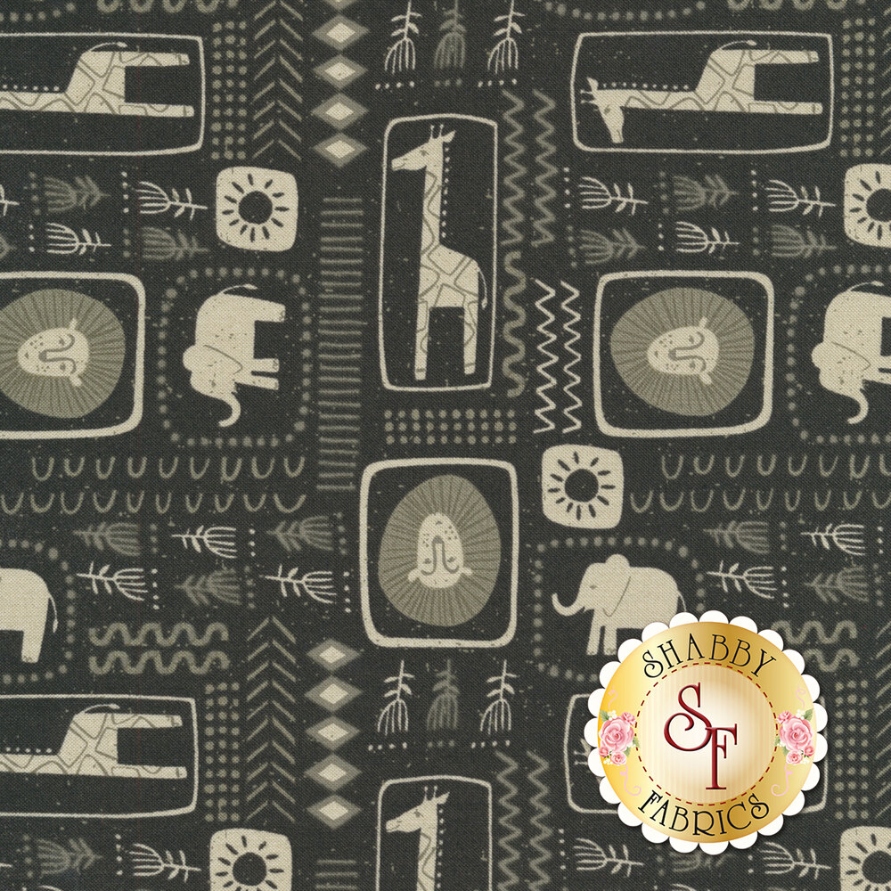 Safari animals inside of shapes with flowers and arrows on black | Shabby Fabrics