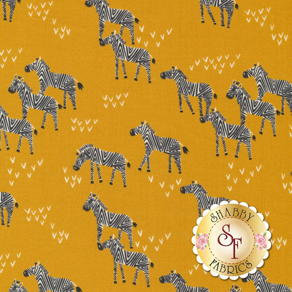 Zebras and arrows on dijon yellow | Shabby Fabrics