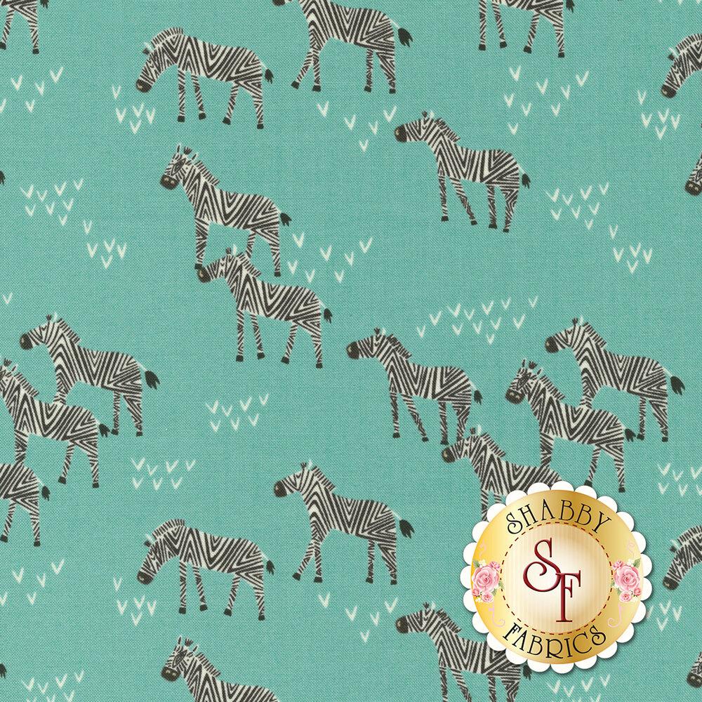 Zebras and arrows on aqua | Shabby Fabrics