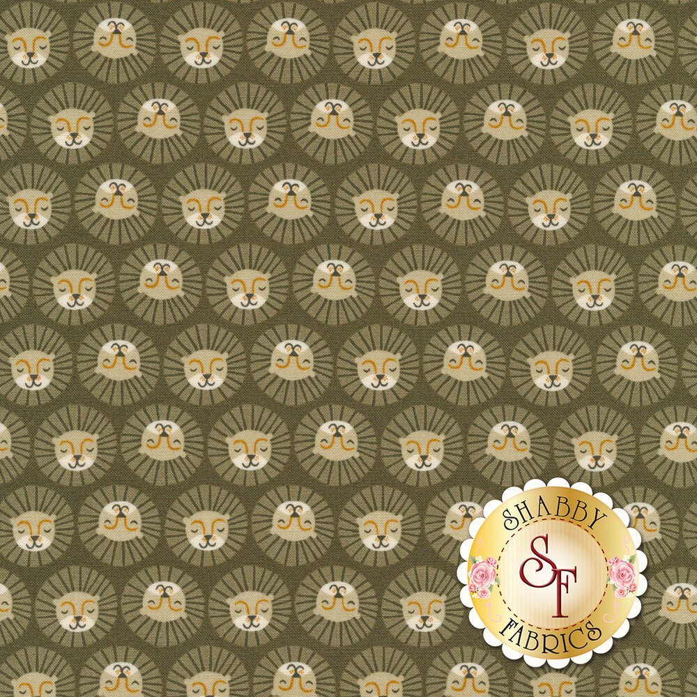 Smiling lions all over gray | Shabby Fabrics