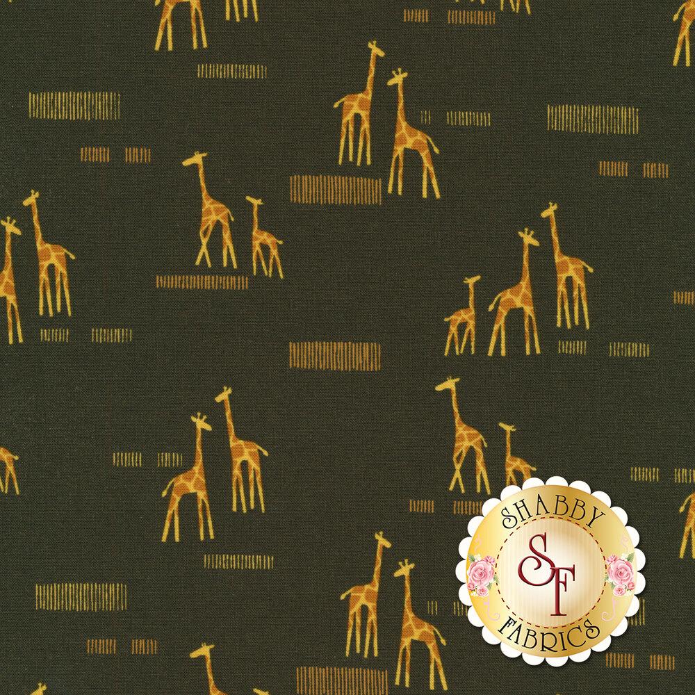 Giraffes and lines on gray   Shabby Fabrics