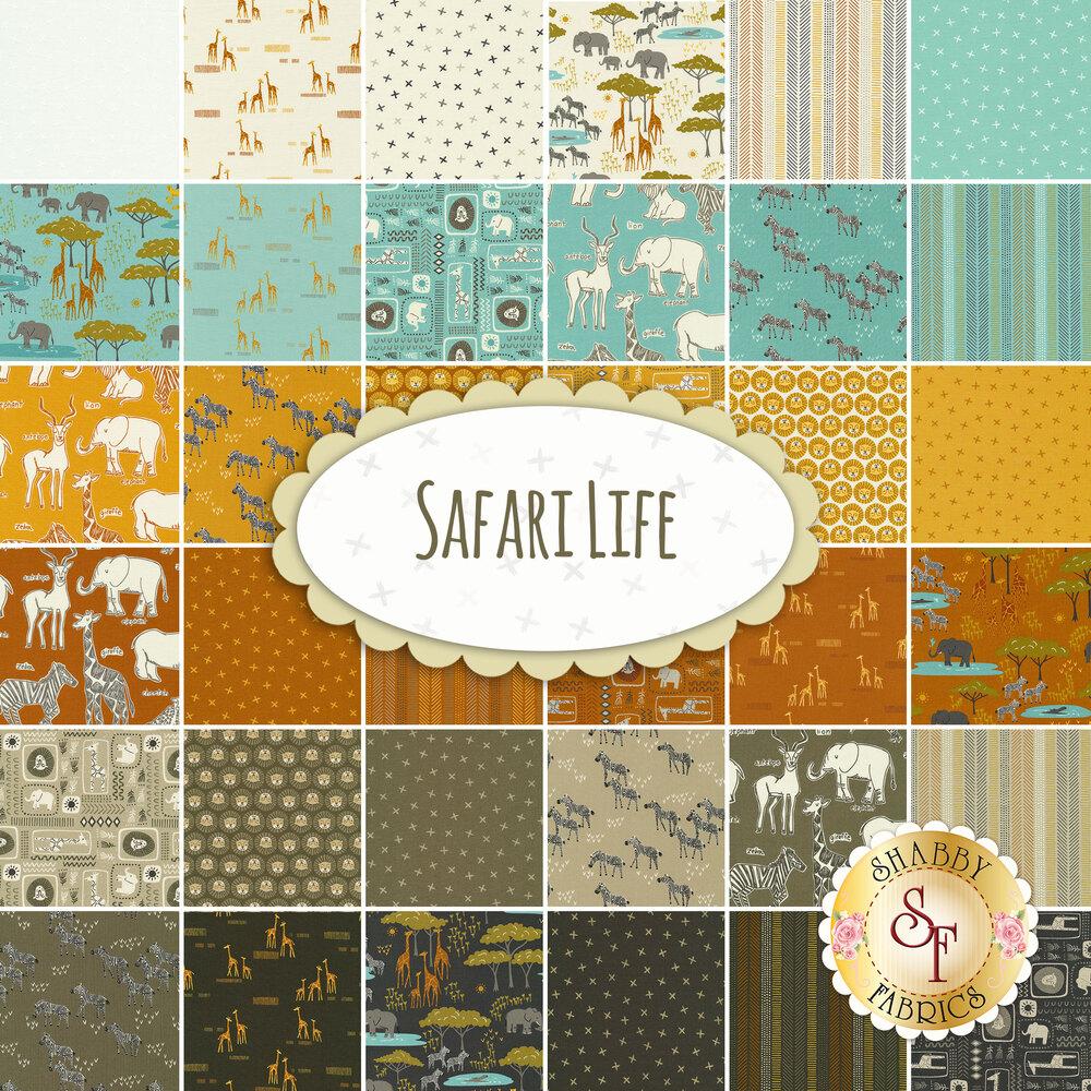 Collage of fabrics included in Safari Life FQ set | Shabby Fabrics