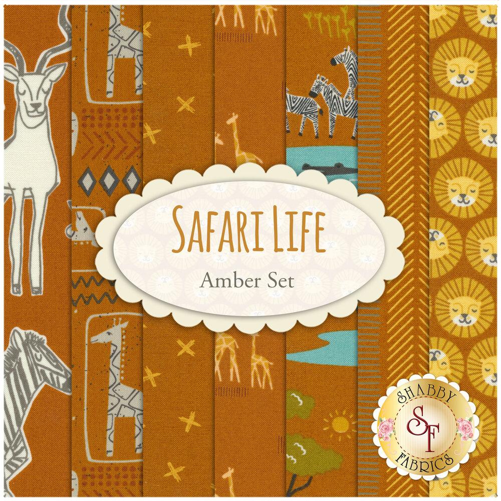 Collage of fabrics included in Safari Life Amber FQ set | Shabby Fabrics