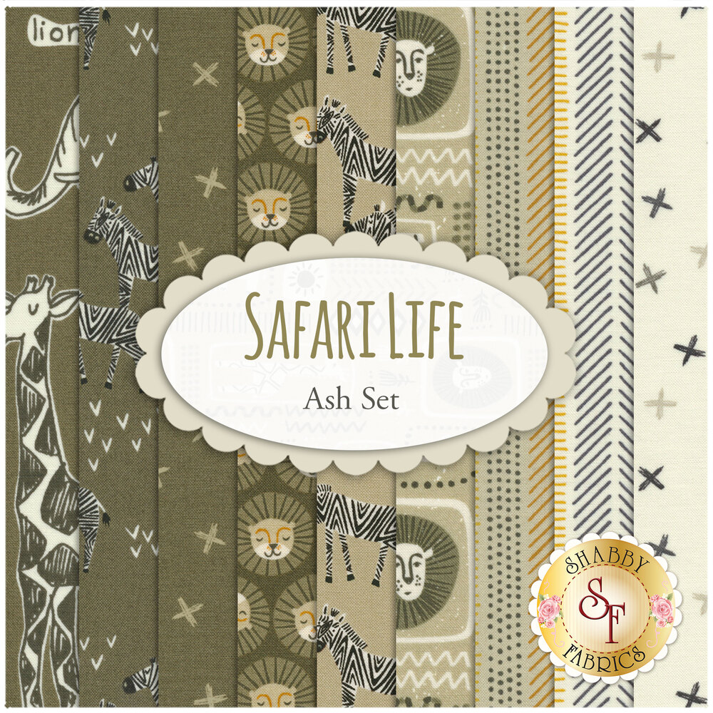 Collage of fabrics included in Safari Life Ash FQ Set | Shabby Fabrics