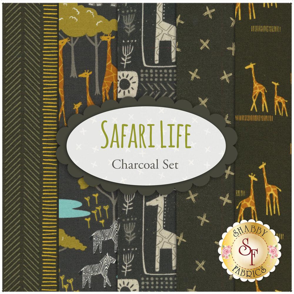 Collage of fabrics included in Safari Life Charcoal FQ set | Shabby Fabrics