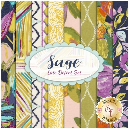 Sage  8 FQ Set - Late Desert Set by Bari J. for Art Gallery Fabrics