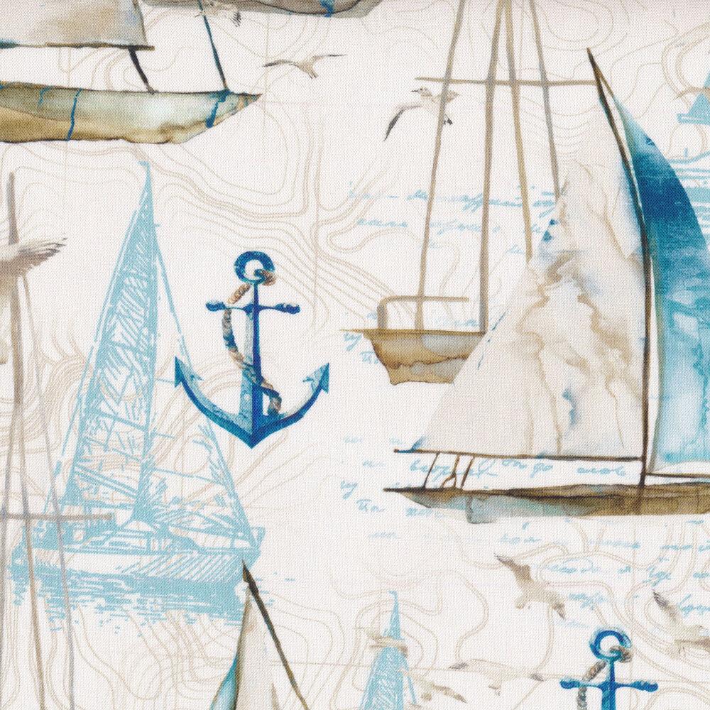 Sailboats, anchors, and bottles all over a tonal cream background | Shabby Fabrics