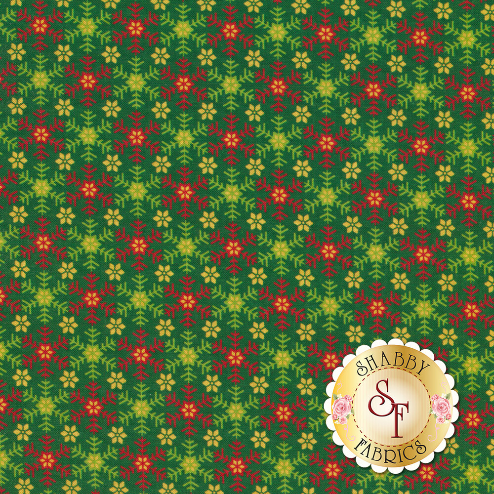 Green fabric featuring snowflakes and flowers | Shabby Fabrics