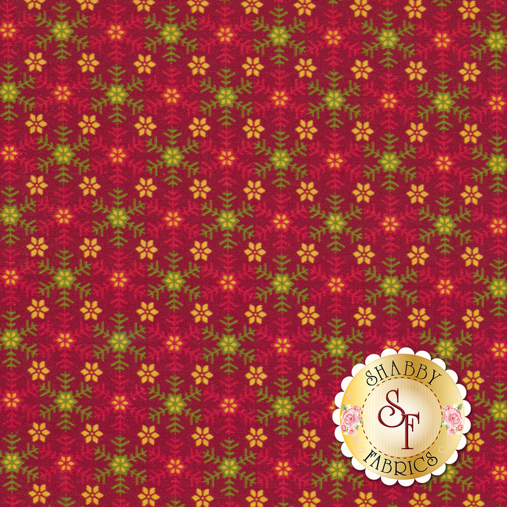 Red fabric featuring snowflakes and flowers | Shabby Fabrics
