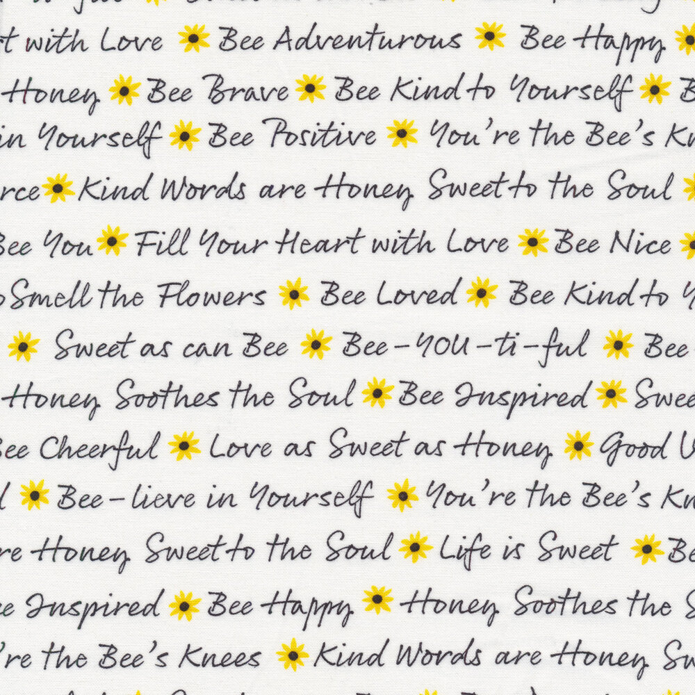 White words and yellow flowers on black   Shabby Fabrics