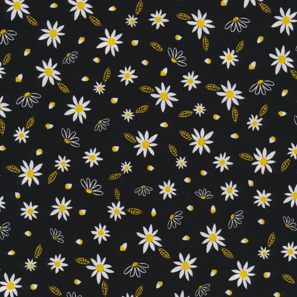 Small flowers and petals tossed on black | Shabby Fabrics