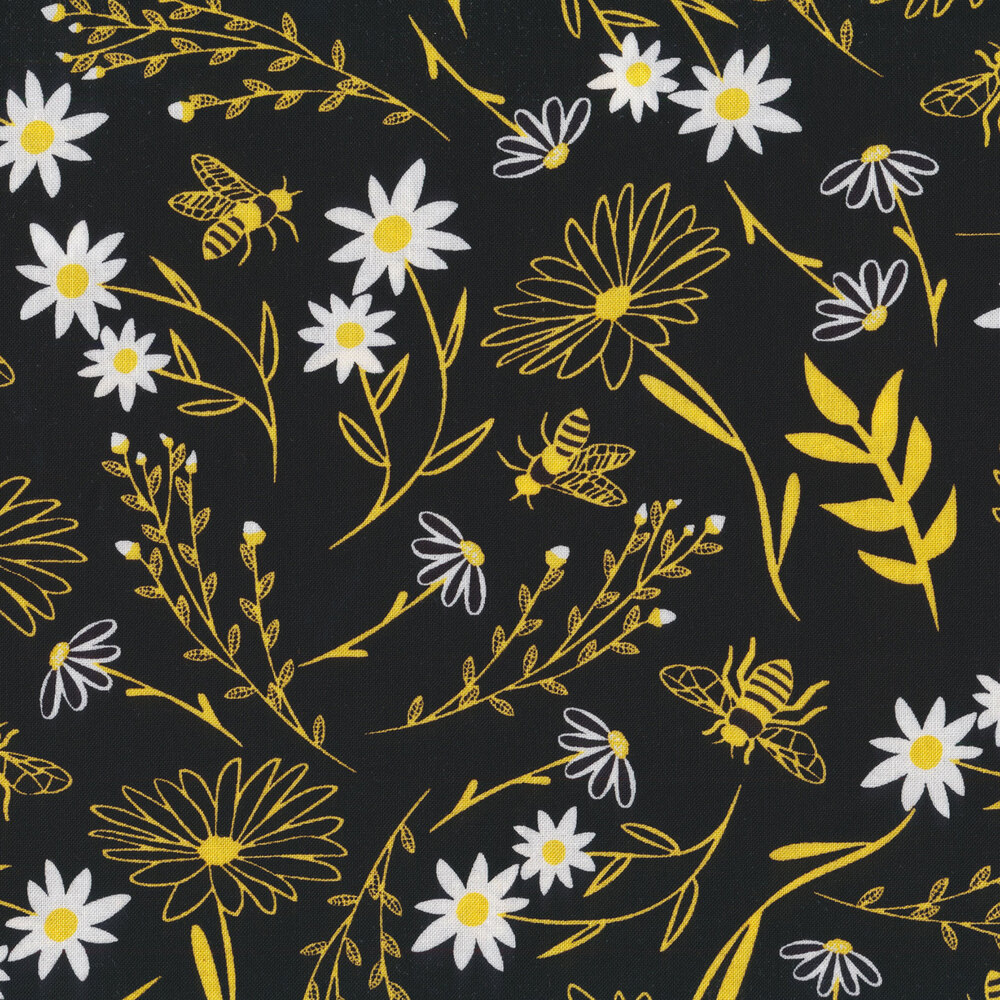 Bees and flowers on black | Shabby Fabrics