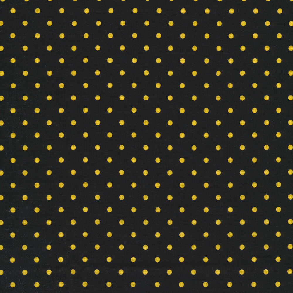 Yellow polka  dots on black   Shabby Fabrics