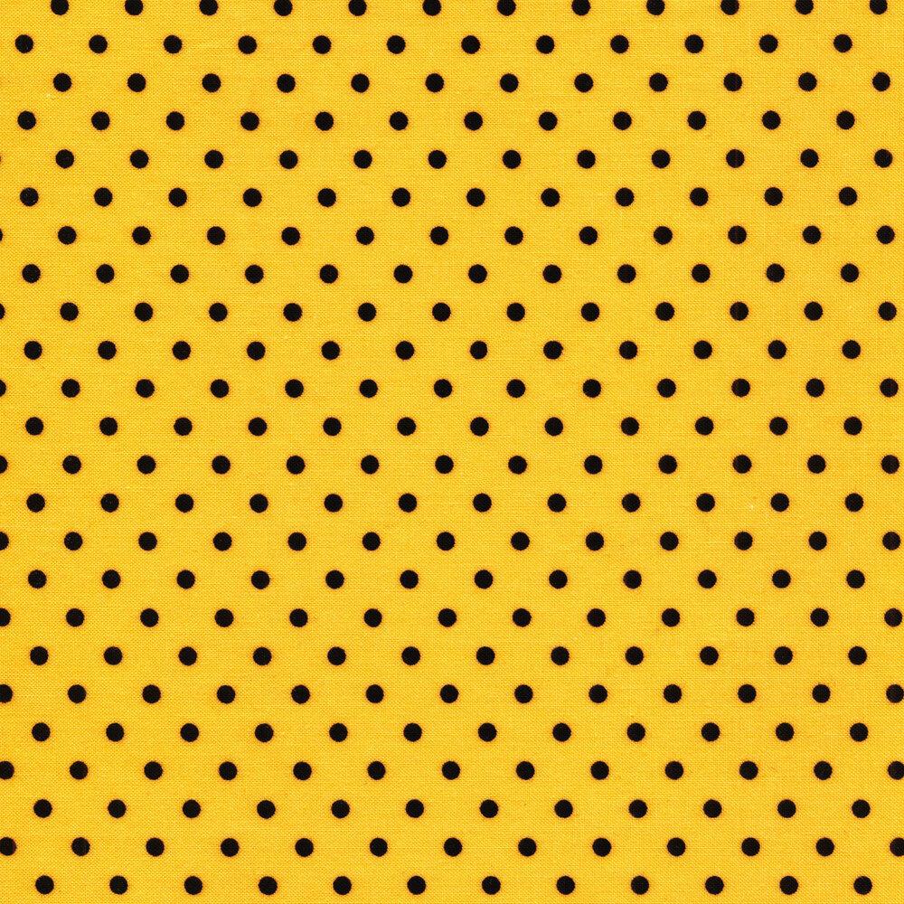 Black polka dots on yellow | Shabby Fabrics