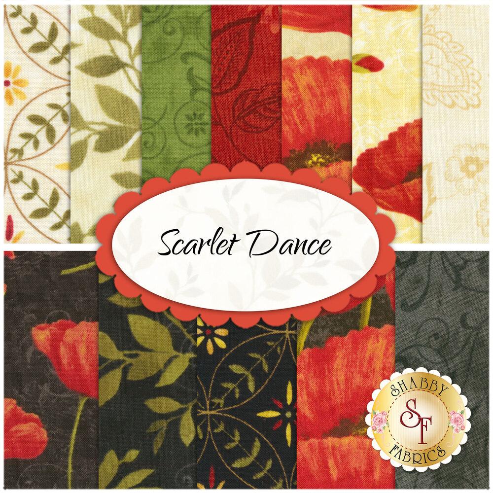 Scarlet Dance  12 FQ Set by Wilmington Prints