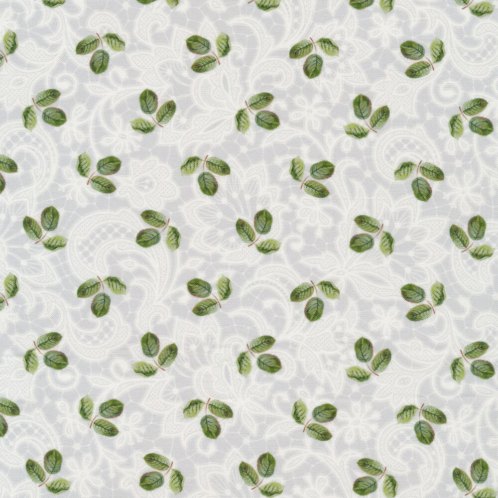 Clusters of leaves on white tonal lace | Shabby Fabrics