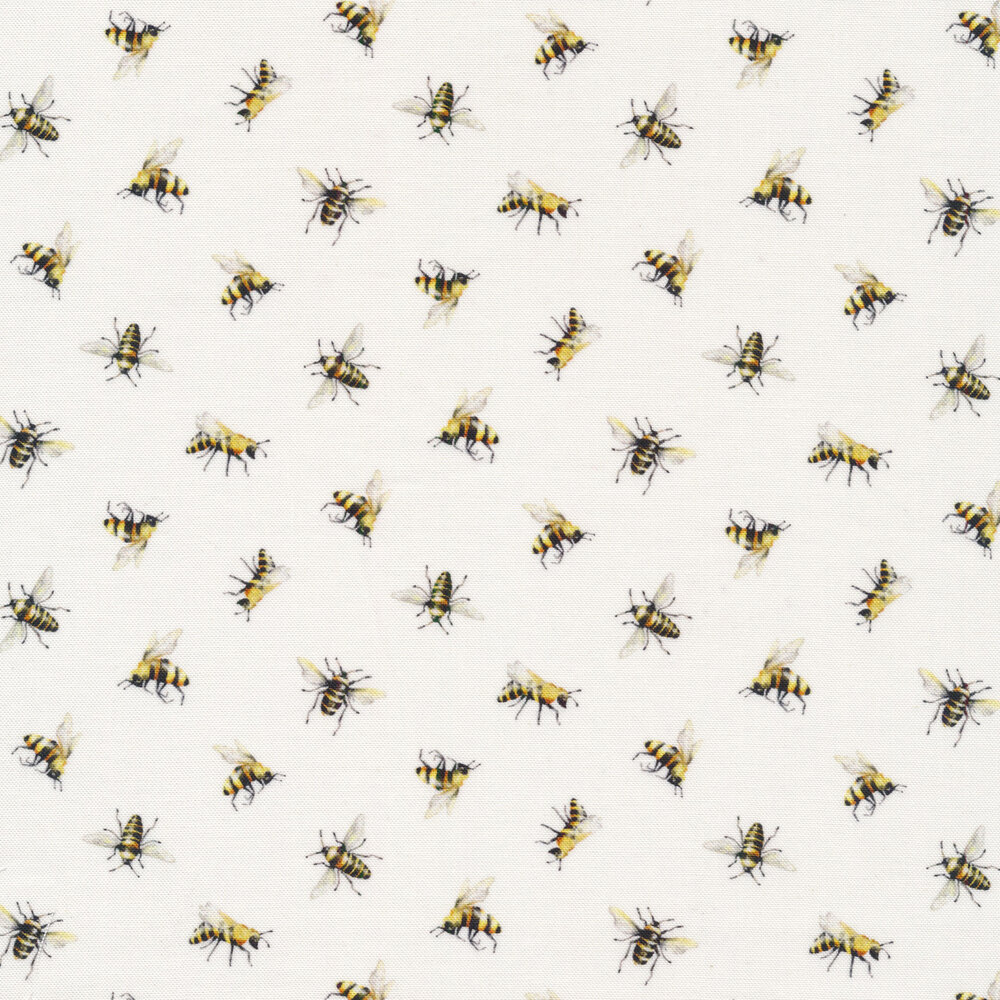 Tossed bees on white | Shabby Fabrics