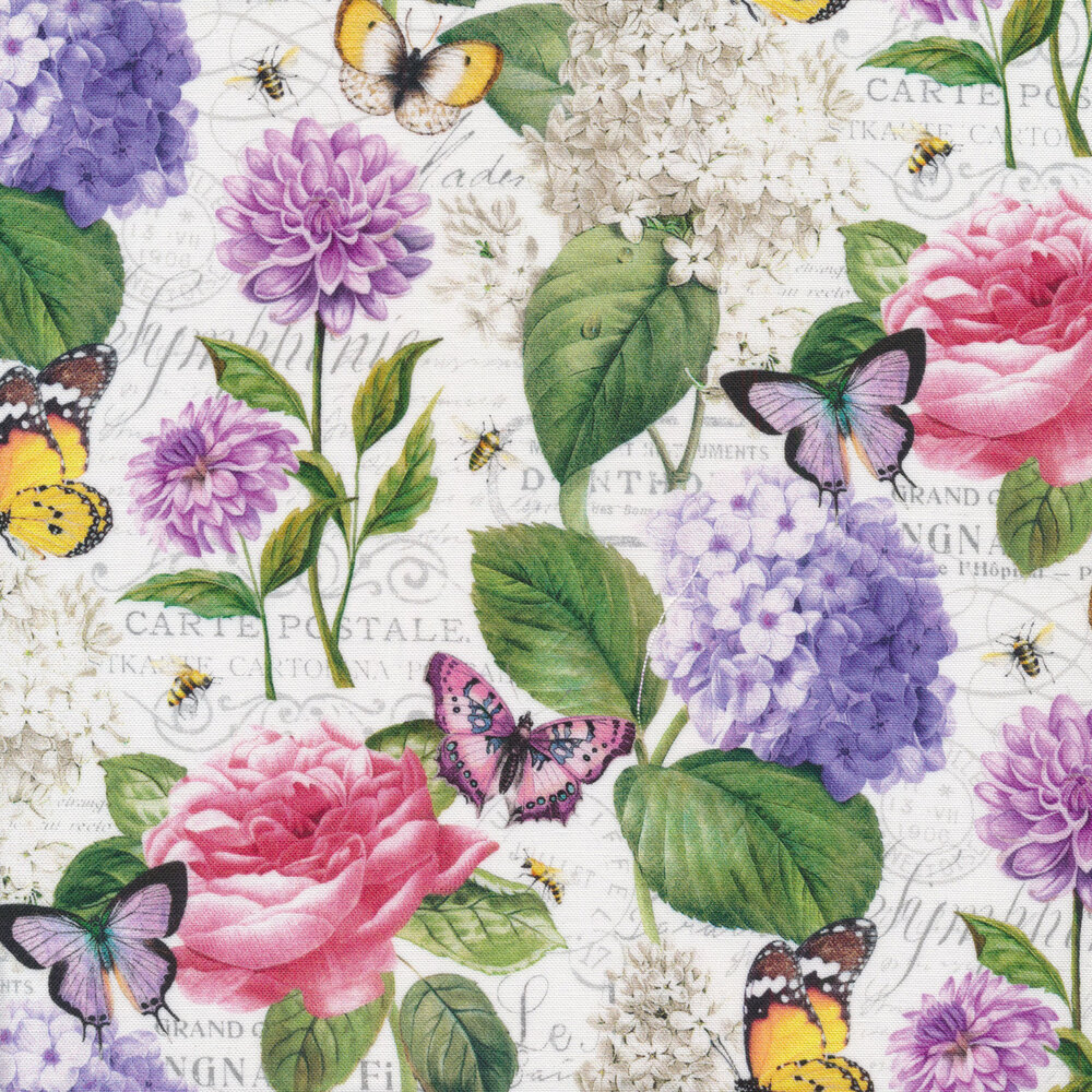Pink and purple florals with yellow and purple butterflies on a tonal white script | Shabby Fabrics