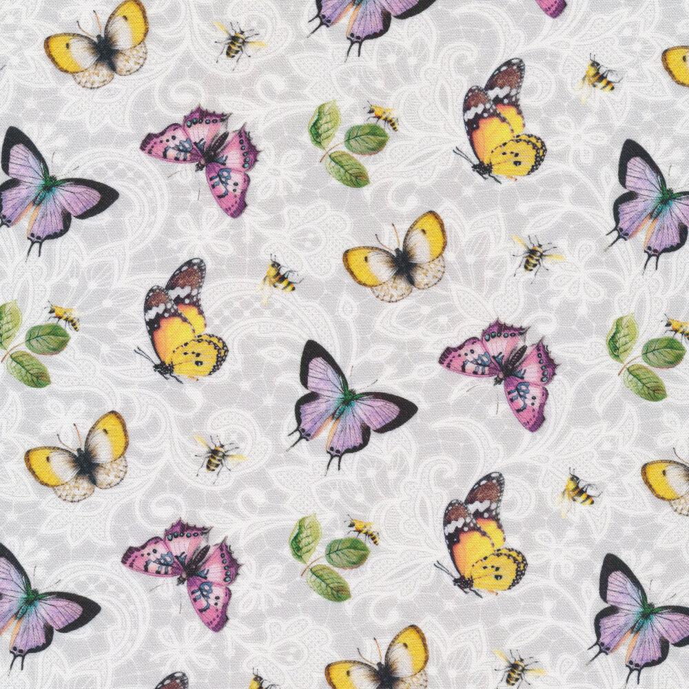 Purple and yellow butterflies all over tonal white lace | Shabby Fabrics