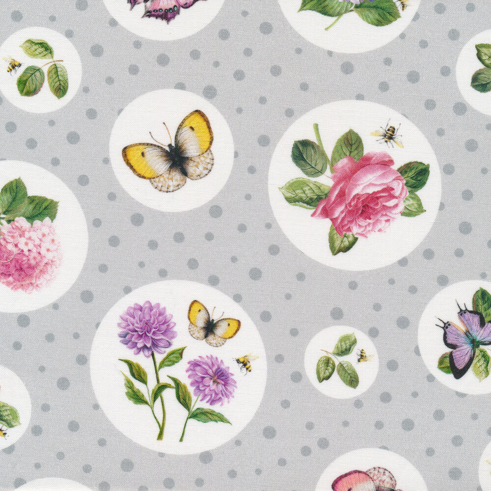 Flowers and butterflies in circles on gray | Shabby Fabrics