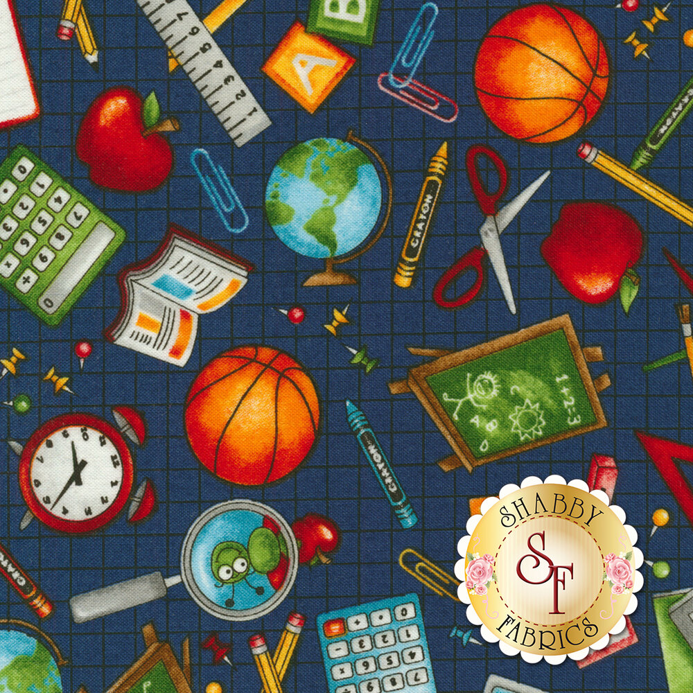 School Zone 4133-77 School Icons All Over by Studio E Fabrics from Pam Bocko