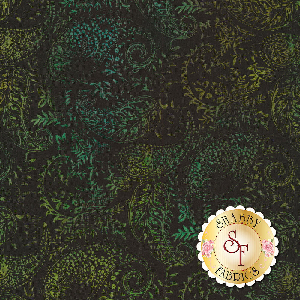 Green paisleys all over black | Shabby Fabrics