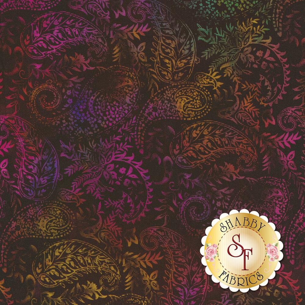 Multicolored paisleys all over black   Shabby Fabrics