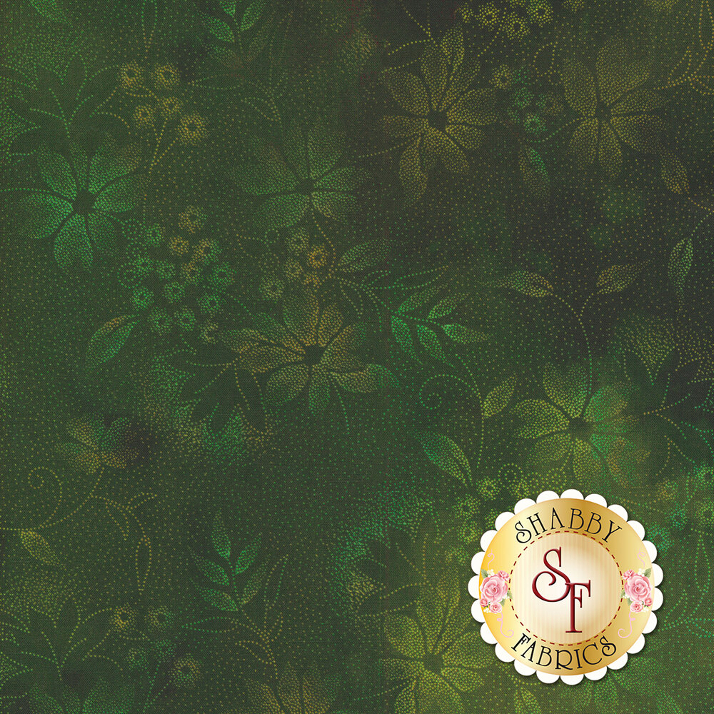 Tonal green dotted floral design all over green | Shabby Fabrics
