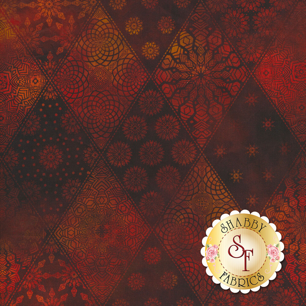 Tonal red geometric designs in diamond pattern | Shabby Fabrics
