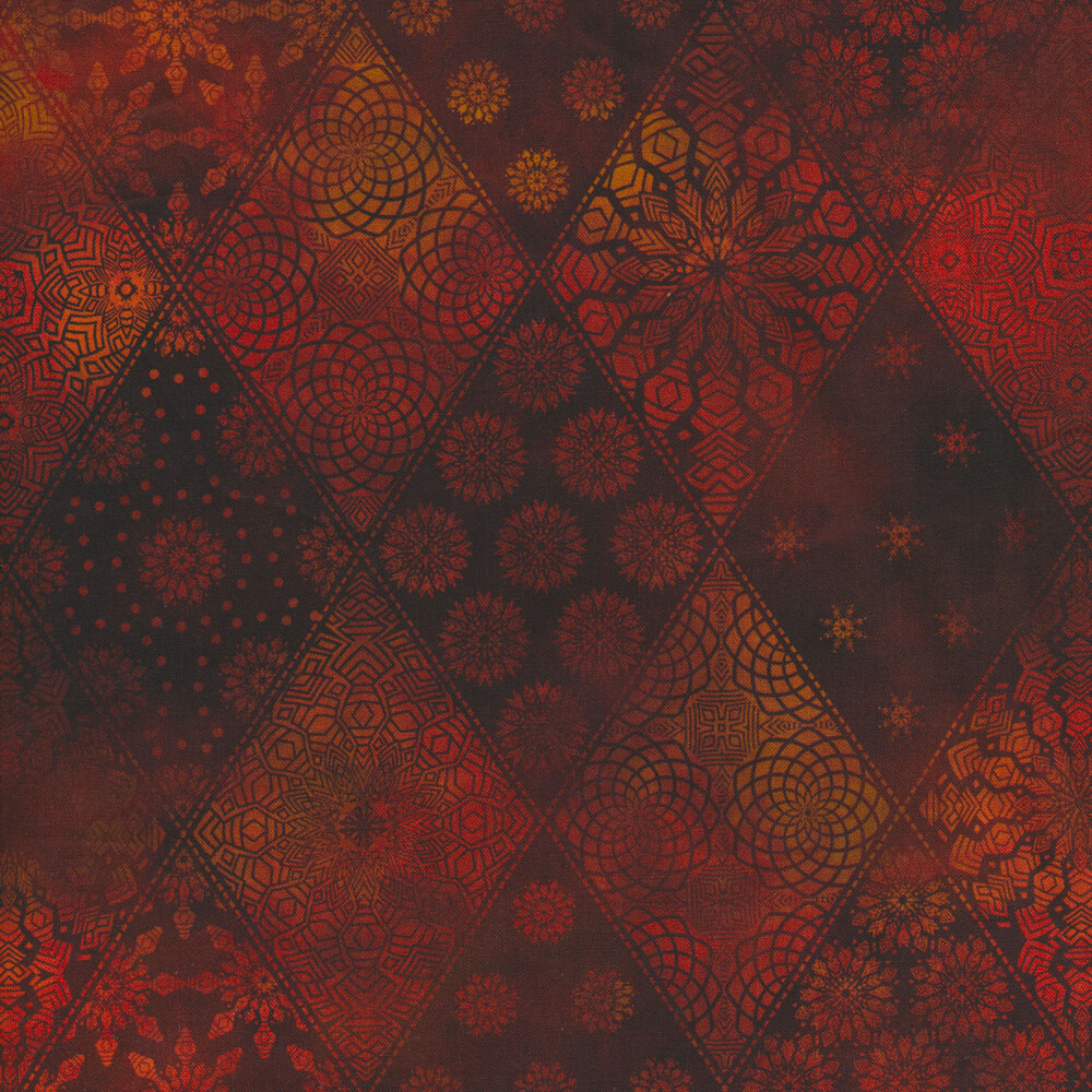 Tonal red geometric designs in diamond pattern | Shabby Fabrics