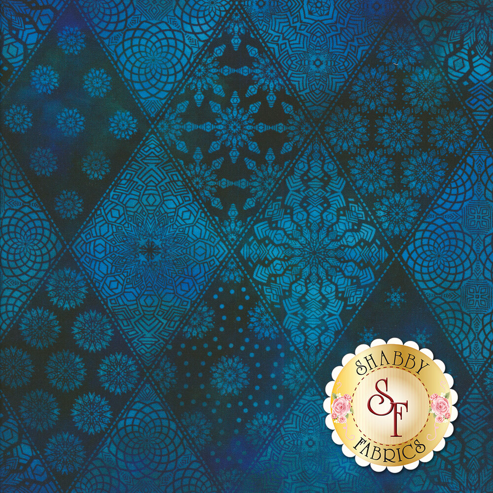 Tonal blue geometric designs in diamond print | Shabby Fabrics
