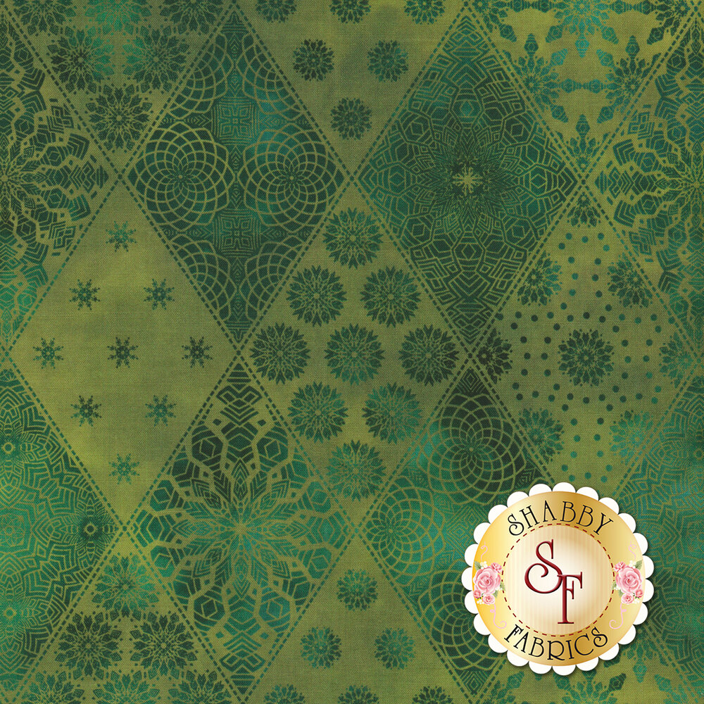 Tonal green geometric designs in diamond print | Shabby Fabrics