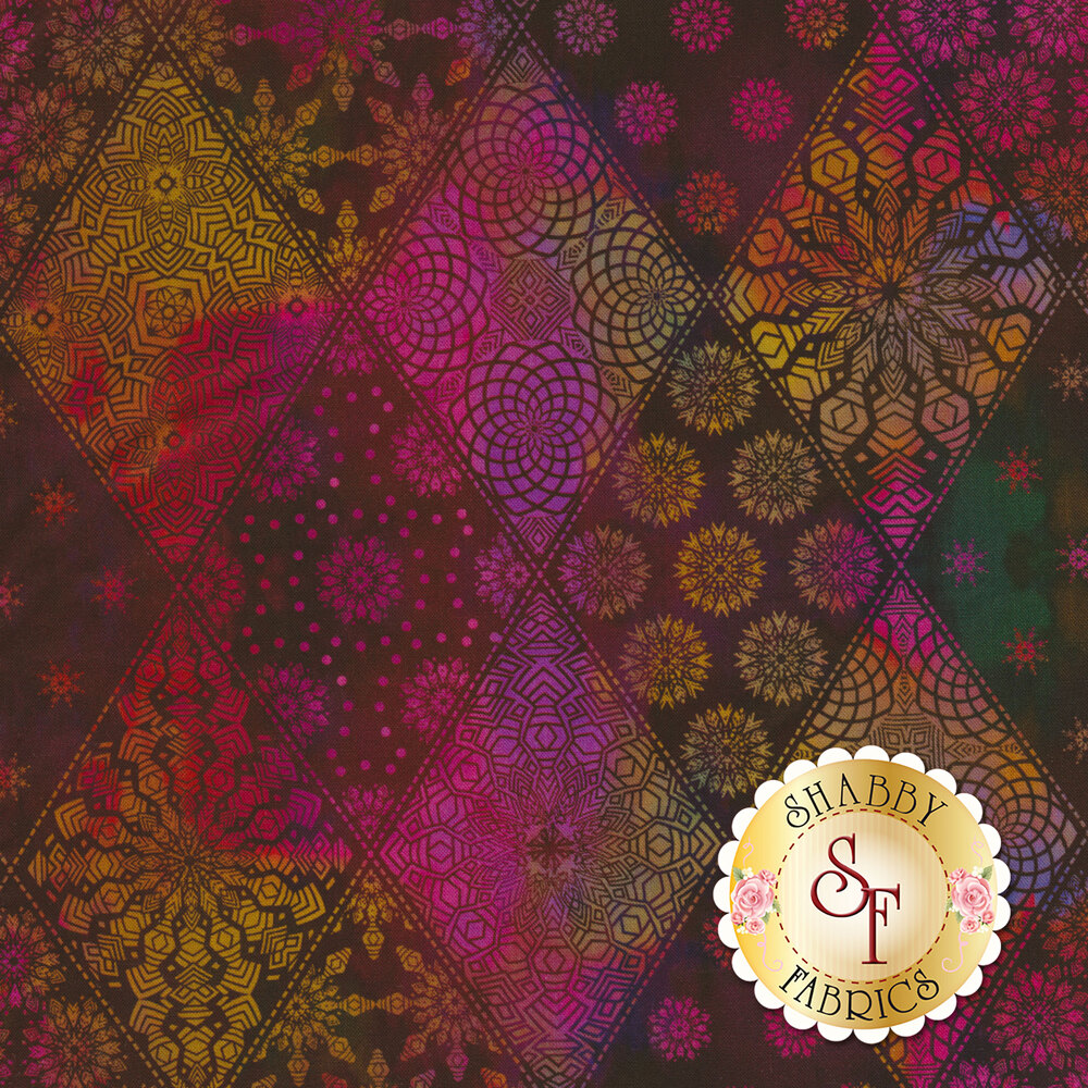 Multicolor geometric designs in diamond print | Shabby Fabrics