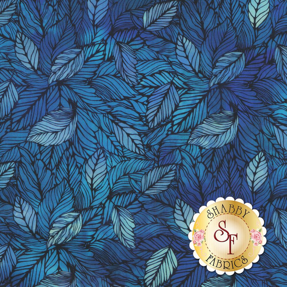 Tonal packed blue leaves | Shabby Fabrics