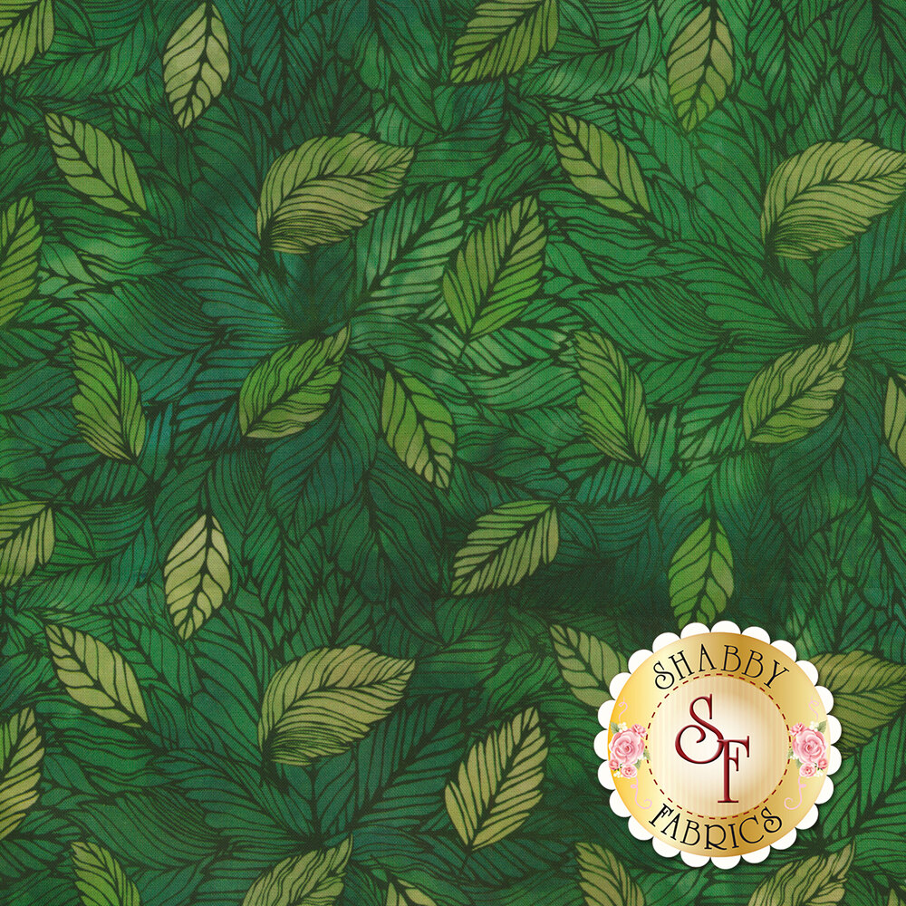 Tonal packed green leaves | Shabby Fabrics