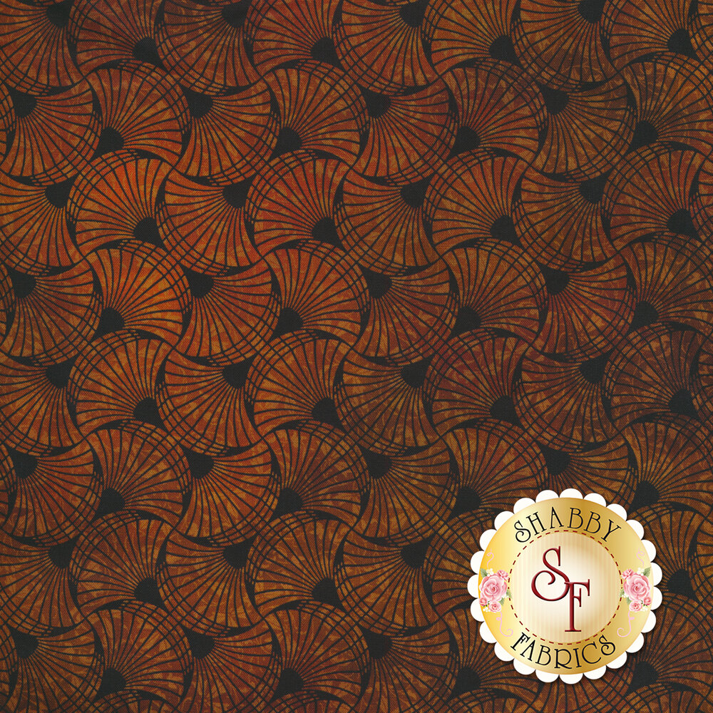 Orange fan design all over black | Shabby Fabrics