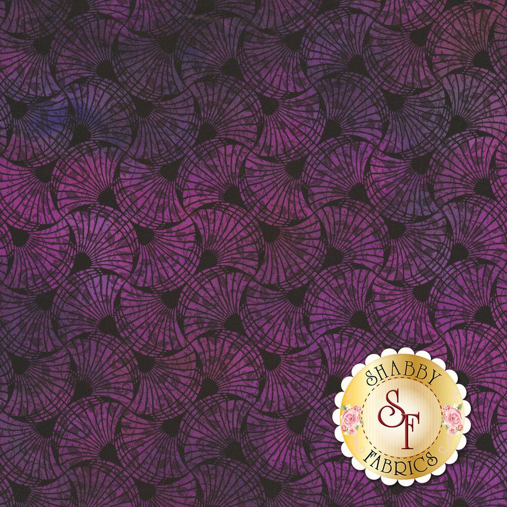 Purple fan design all over black | Shabby Fabrics