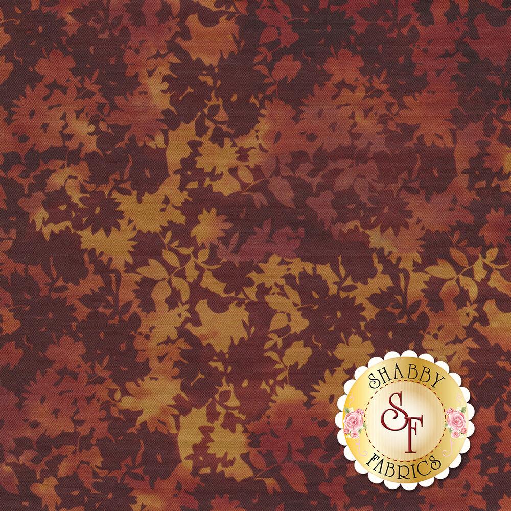 Tonal orange leaf design | Shabby Fabrics