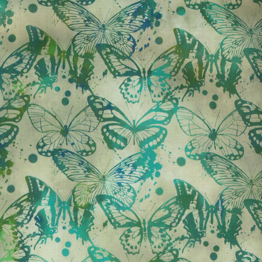 Tonal green butterfly design   Shabby Fabrics