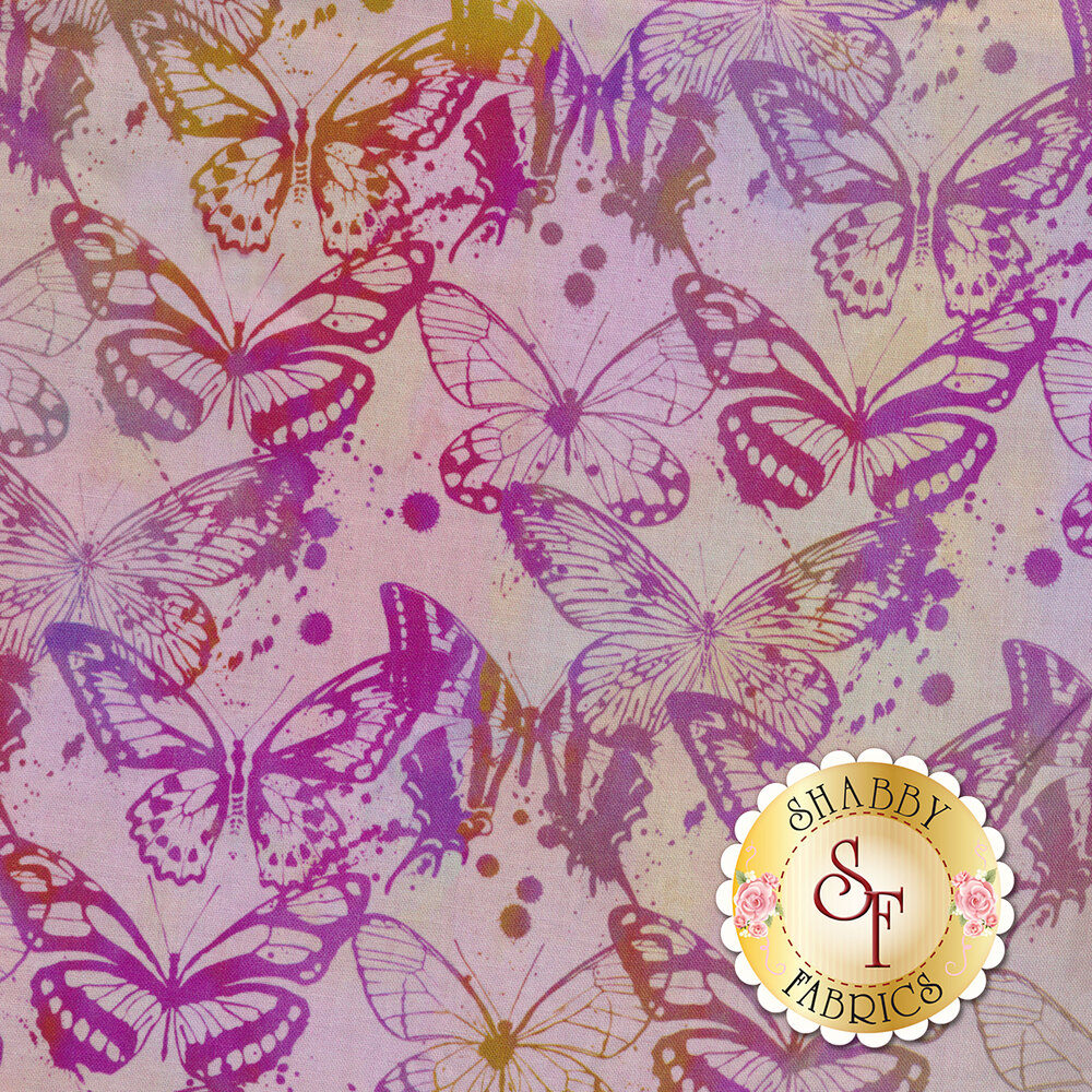 Tonal purple butterfly design | Shabby Fabrics