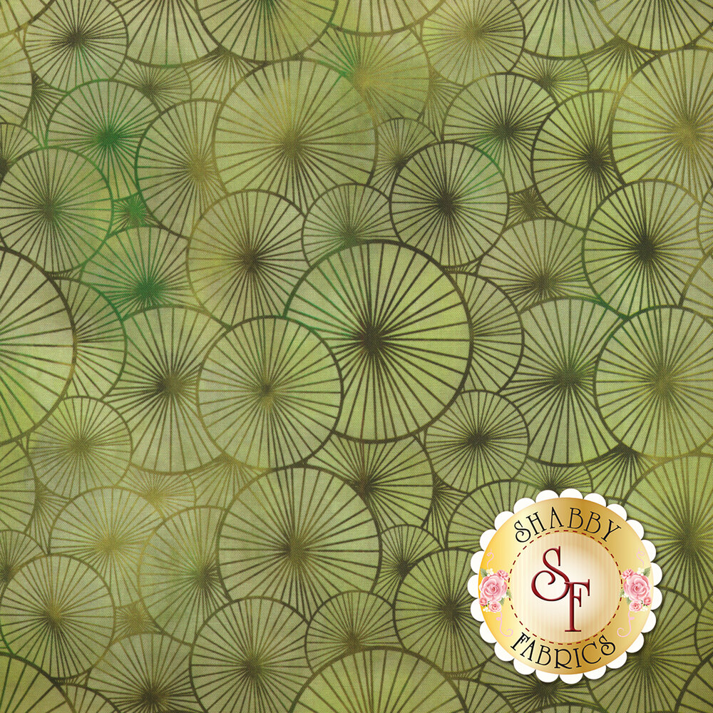Tonal green overlapping medallion design | Shabby Fabrics