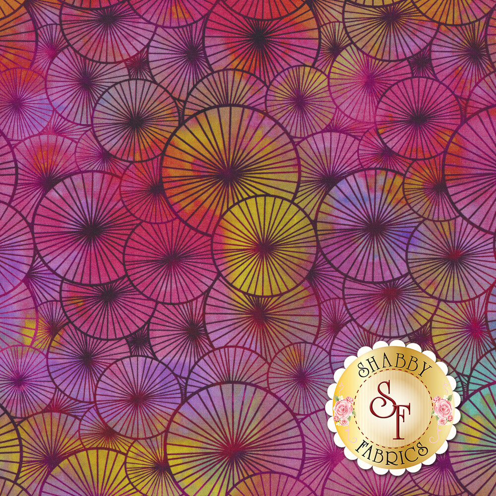 Purple overlapping medallion design with yellow | Shabby Fabrics