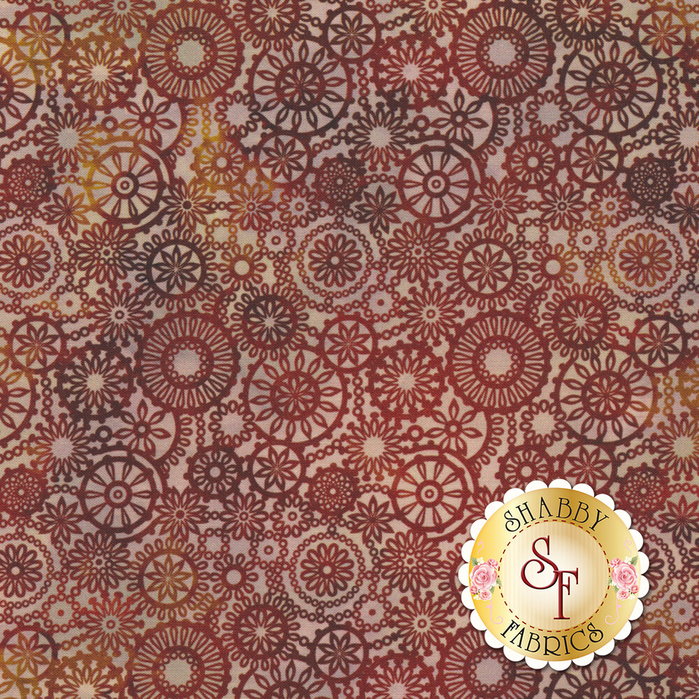 Red floral medallion design | Shabby Fabrics