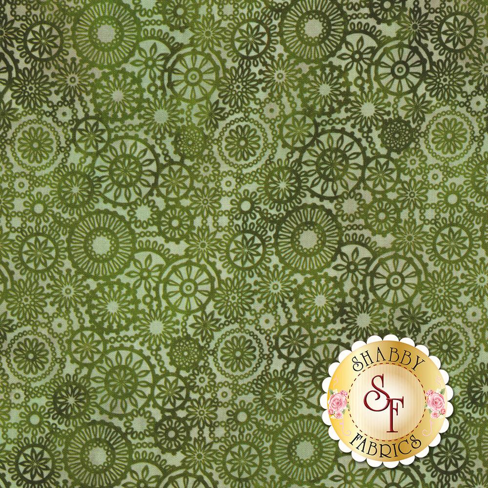Tonal green floral medallion design | Shabby Fabrics