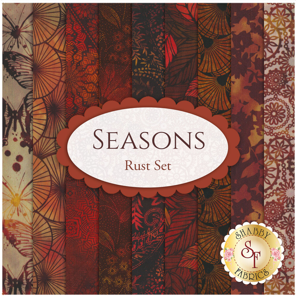 Collage of fabrics in Seasons Rust FQ Set   Shabby Fabrics