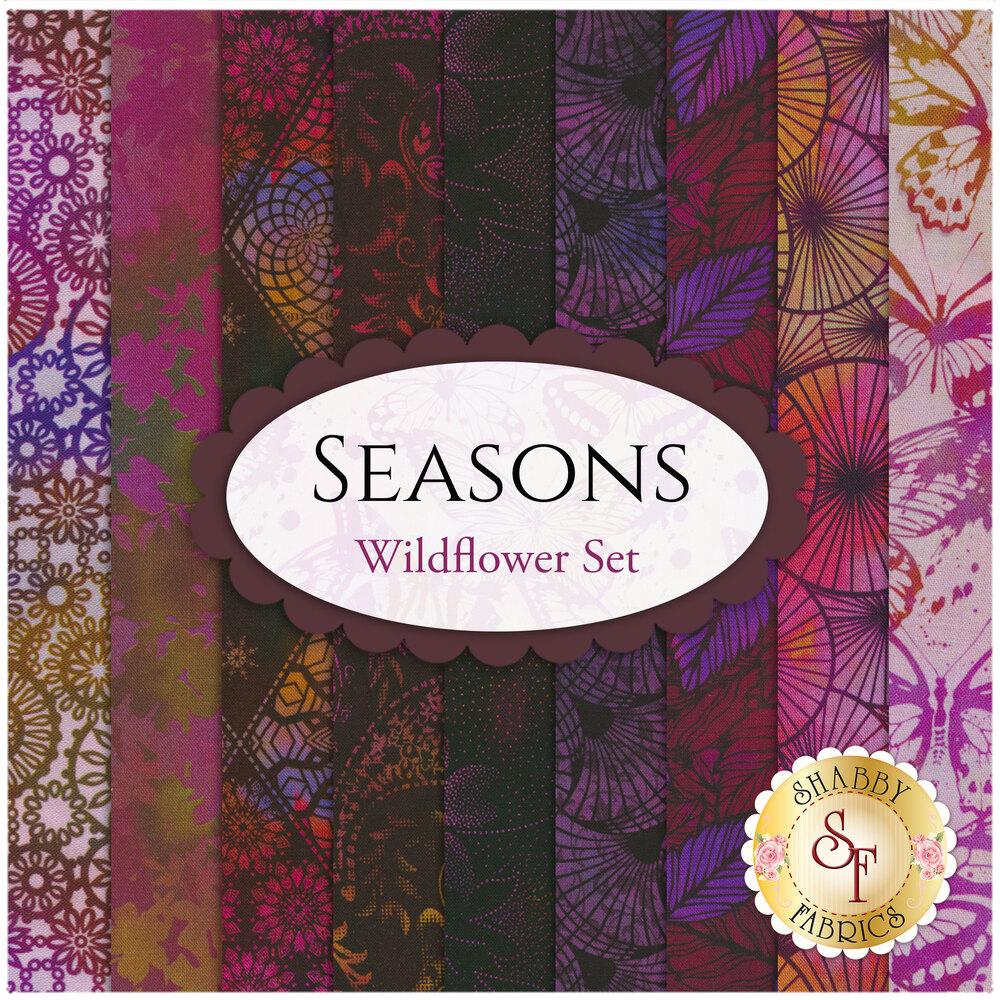 Collage of fabrics in Seasons Wildflower FQ Set | Shabby Fabrics